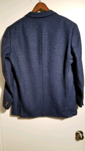 Versace Blazer Sport Coat 40R Cashmere Wool Blue and Black Check