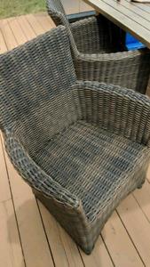 4 chocolate brown patio dinning chairs