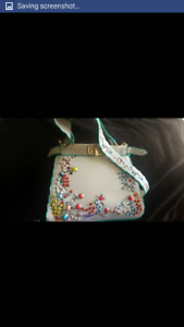 White embroidery faux leather bag
