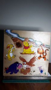 Winnie The Pooh Characters. Pyrography(Woodburning) and Acrylics