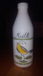 R.W. JONES INC MILK BOTTLE and 2 Italian quart milk bottles
