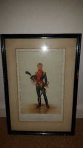 4 Old Cool Military Print framed from 1800's (really old piece)
