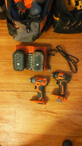 2 Ridgid Impact Drills with Dual RapidMax Charger