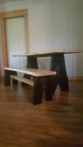 Table And matching bench.