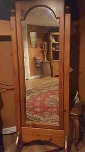 Solid wood Cheval standing mirror and matching rocking chair