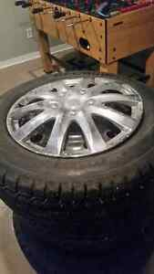 """Winter tires with 17"""" steel rims and hubcaps 230$$ OBO Kitchener / Waterloo Kitchener Area image 5"""