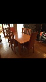 Beech Dining Room Table & Chairs