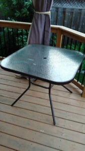 "36"" square patio table (tempered glass top) on sale"