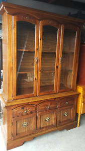 Solid wood hutch buffet with glass doors