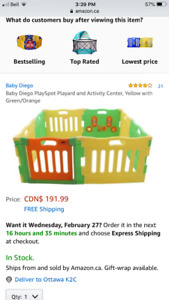 Baby Diego baby play yard and activity centre PERFECT condition
