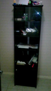 BEAUTIFUL SHOW CASE/DISPLAY, BLACK COLOR,OPEN&CLOSED DOOR SHELVE