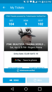 Lower bowl PINK ticket