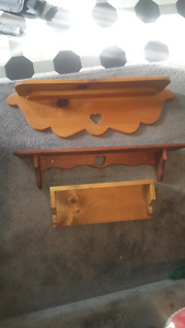Wood Shelves w/ Heart Cutout Accent
