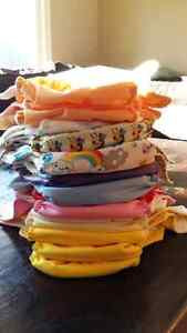 18 cloth diapers plus inserts and 3 wetbags