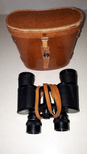 binoculars with leather case and strap