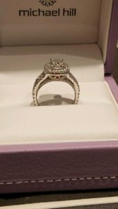 14k Double Halo Engagement Ring