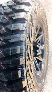 """** 4 ALL NEW *** 17"""" 5x5.5 MATTE BLACK WHEELS AND TIRES"""
