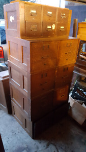 Stacking oak filing cabinets