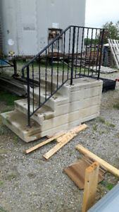 CEMENT STEP WITH METAL RAILING