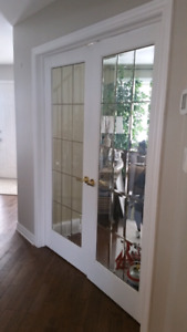 Solid wood french doors.