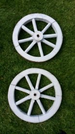 Pair of 18 inch vintage wooden cart wheels