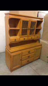 Solid Oak Dining Room Hutch and Buffet