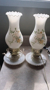 Old milk glass and brass lamps