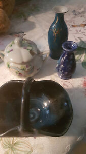 4 pieces of poreclain and  glass ware ,ceramic too.