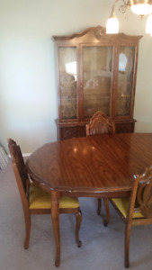 Vintage Dining Set with Matching China Cabinet
