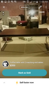 Espresso coffee table and 2 end tables