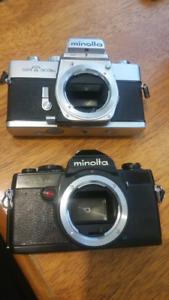 2 Minolta 35mm SLRs.. partly working