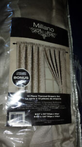 SET OF TWO LUXURY DRAPE PANELS, TIE BACKS AND CURTAIN RODS