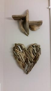 Rustic heart and shelf