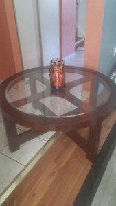 40 inch round glass coffee table