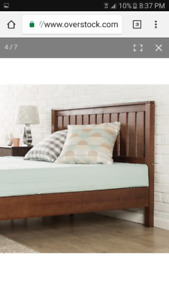 King Size - Solid Wood Platform Bed With Headboard