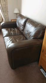 FREE Fenwicks Brown Leather 3 Seater Sofa
