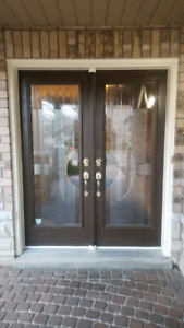 Used Exterior Double Doors with Full Length Glass Inserts