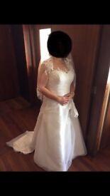 IVORY WEDDING DRESS &ACCESORIES SIZE 14 ROMANTICA OF DEVON