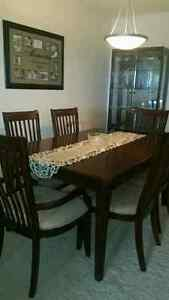 Solid wood dining table for six