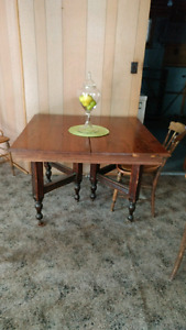 Antique solid maple table and 4 chairs
