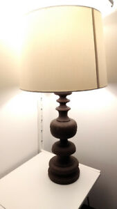 Brown Table Lamp Pair with rusted iron look (set)