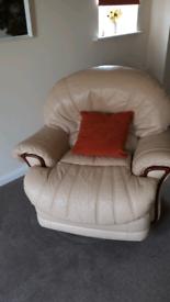 Leather 3 piece suite cream