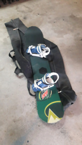 Well used snowboard, boots and bindings