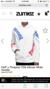 Thrasher x HUF white out hoodie