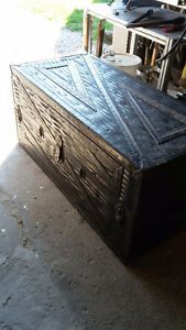 Leather steamer trunk
