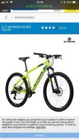 Btwin mountain bike 27.5 rockrider 520 yellow