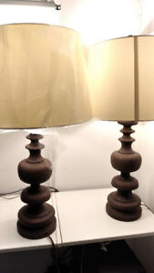 2 Urban Barn Brown Table Lamps With Rusted Iron Look (set)