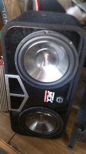 """2 12"""" infinite subwoofers in bassworks box with amp"""