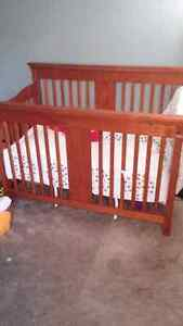 Matching crib and change table