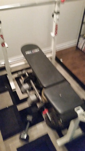 Weight bench straight bar curl bar 165 pounds weight